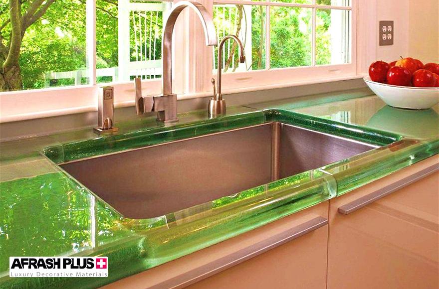 صفجه کابینت شیشه پشت رنگی سبز