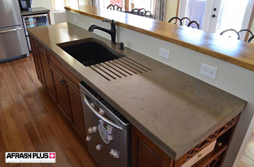 کابینت آشپزخانه با صفحه کابینت بتن