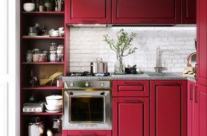 کابینت کلاسیک قرمز رنگ با صفحه سنگ طبیعی
