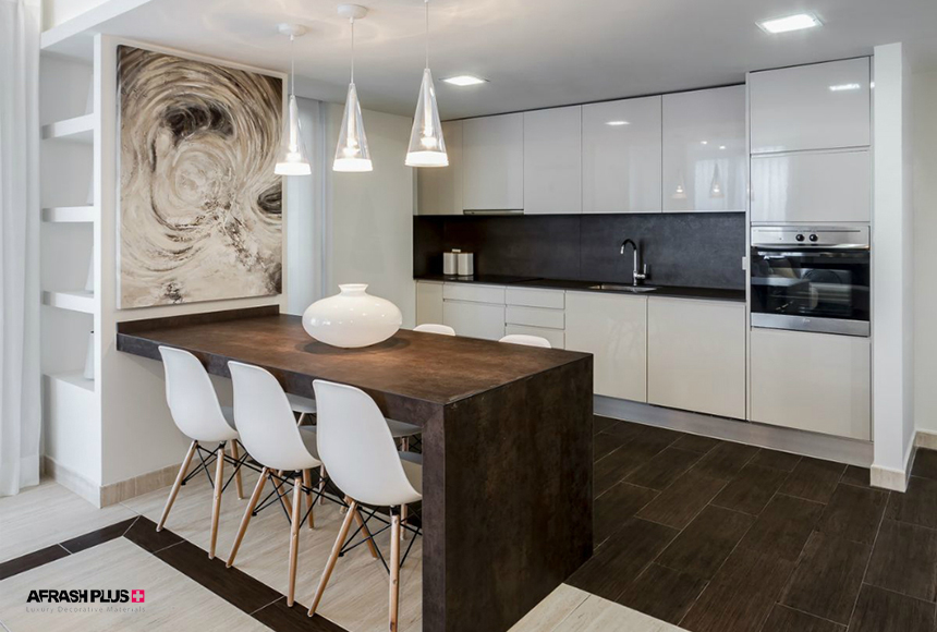 کابینت آشپزخانه G هایگلاس سفید با صفحه دکتون