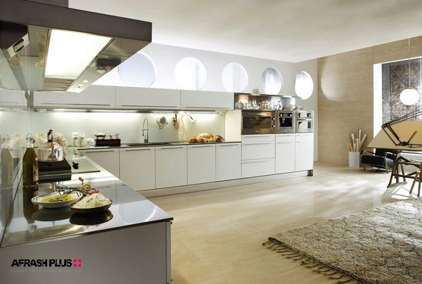 آشپزخانه مدرن سفید رنگ با پلان L