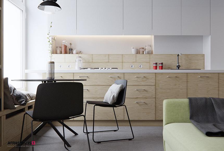 کابینت تک دیوار مدرن، ترکیبی ام دی اف سفید مات و چوب طبیعی