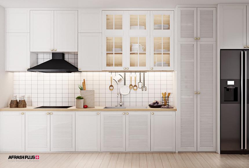 کابینت آشپزخانه تک دیوار / خطی کلاسیک ام دی اف سفید به همراه صفحه چوب