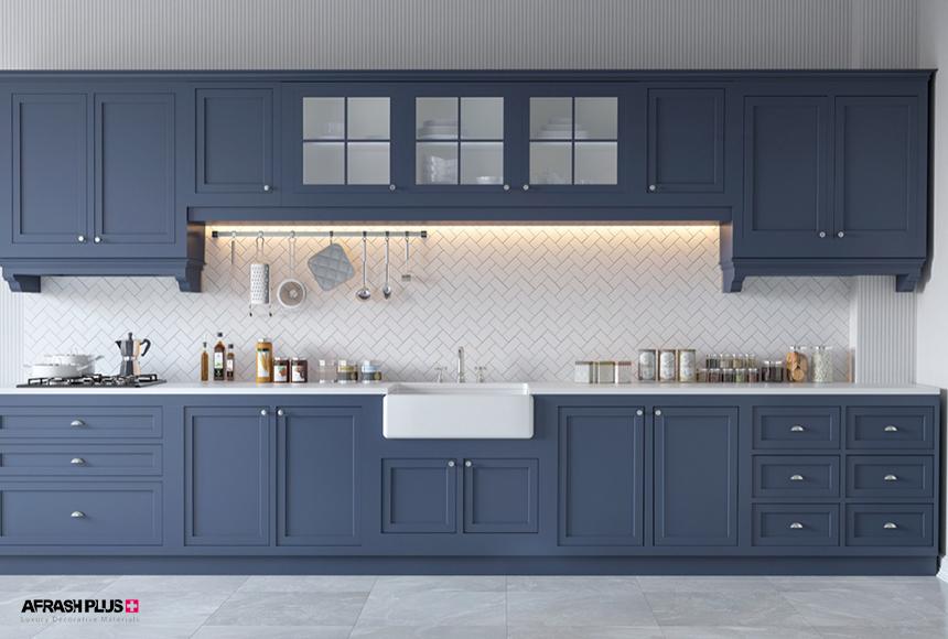 کابینت آشپزخانه تک دیوار / خطی چوب طبیعی آبی تیره با صفحه کورین
