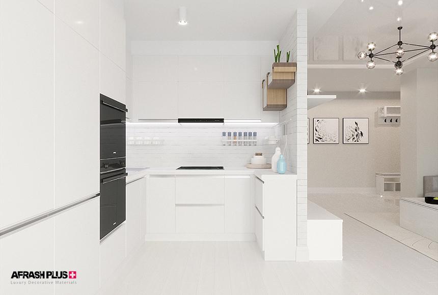 طرح کابینت آشپزخانه U با ام دی اف سفید و صفحه کورین سفید