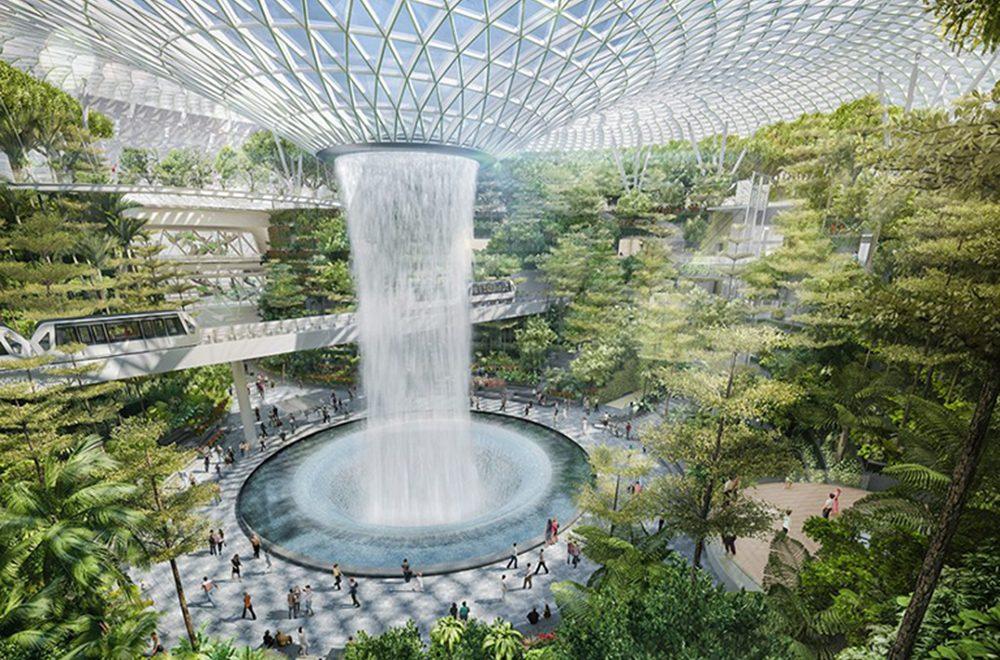 مجموعه تفریحی جواهر فرودگاه سنگابور با آبشار مصنوعی داخلی