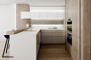 کابینت آشپزخانه مدرن با ام دی اف طرح چوب و صفحه کورین
