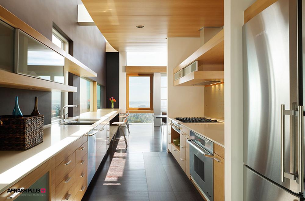 آشپزخانه گالری با ام دی اف طرح چوب