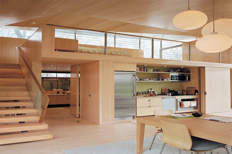کابینت طرح چوب زیبا و میز ناهار خوری چوبی و راه پله های چوبی