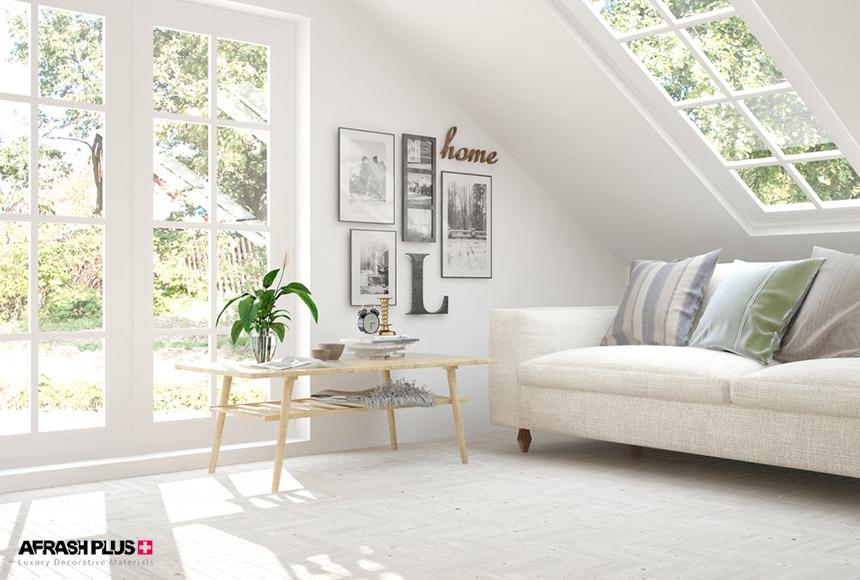 دکوراسیون اسکاندیناوی تمام سفید با پنجره نورگیر بزرگ و حیاط پر از گیاهان