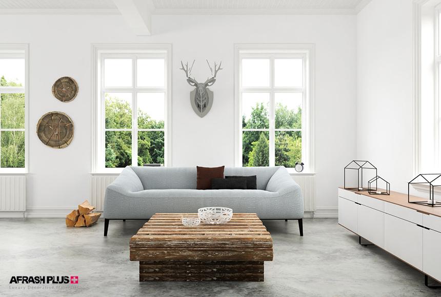 طرح سه بعدی نشیمن مینیمال به همراه مبل سفید و میز جلو مبلی چوب طبیعی به همراه پنجره های بزرگ و نورگیر