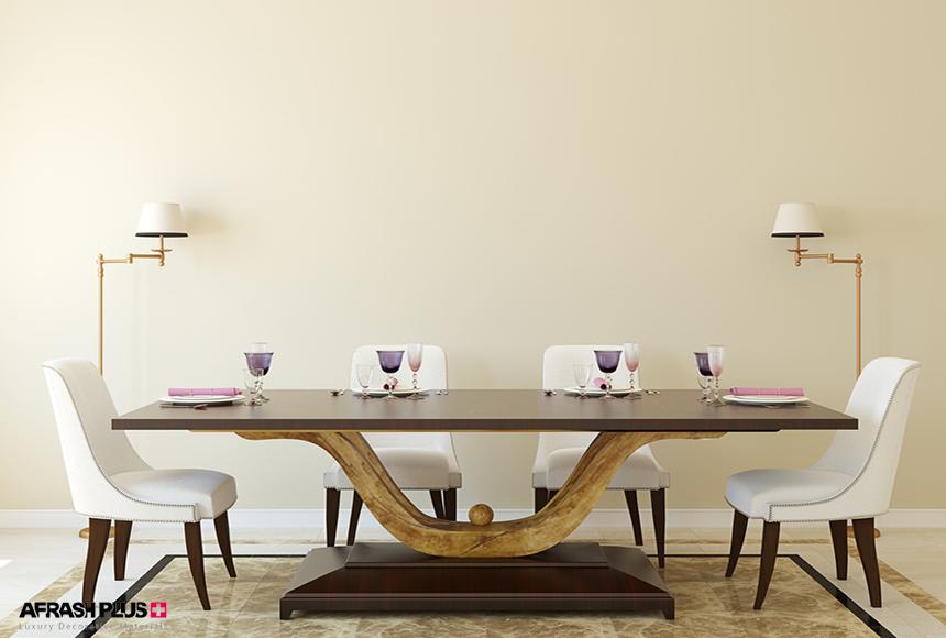 میز غذاخوری سبک چوب طبیعی با 4 صندلی سفید