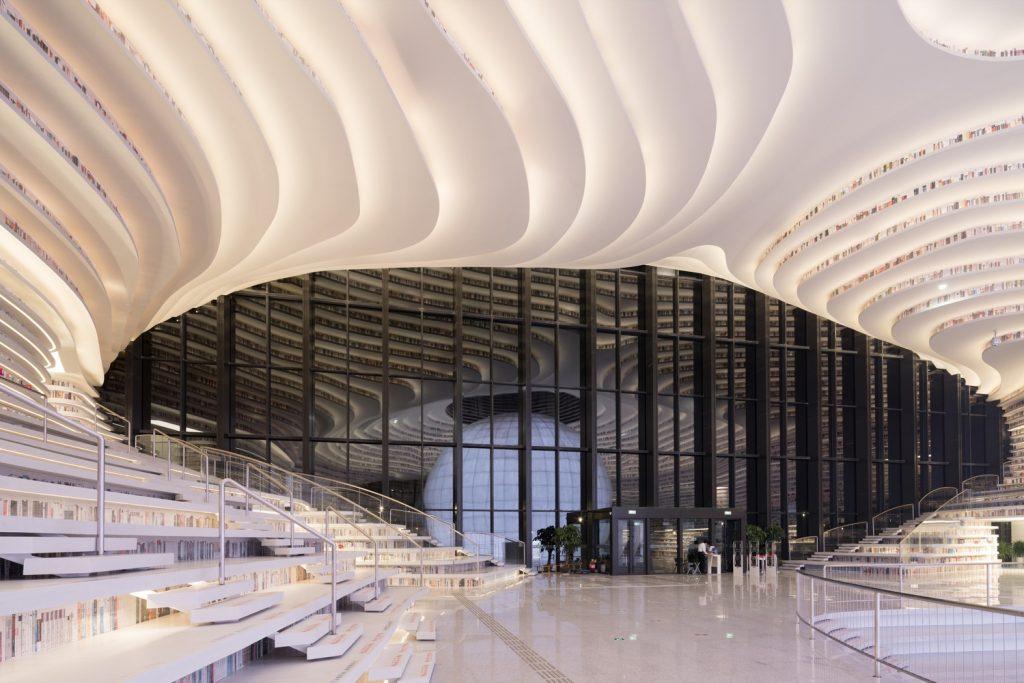 طراحی منحنی شکل کتابخانه تیانجین