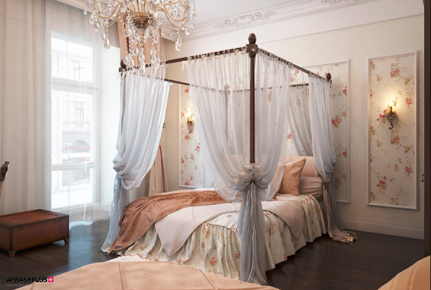اتاق خواب سبک کلاسیک به همراه لوستر و تخت ویکتوریایی و پنجره نورگیر بزرگ