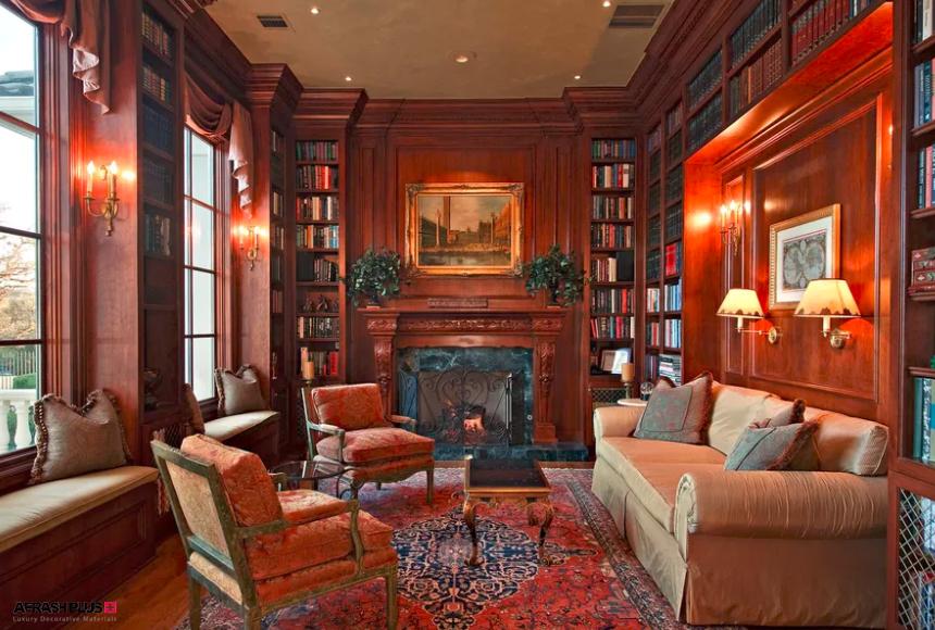 نشیمن سبک کلاسیک با فرش ایرانی و کتابخانه تمام چوب و پنجره بزرگ