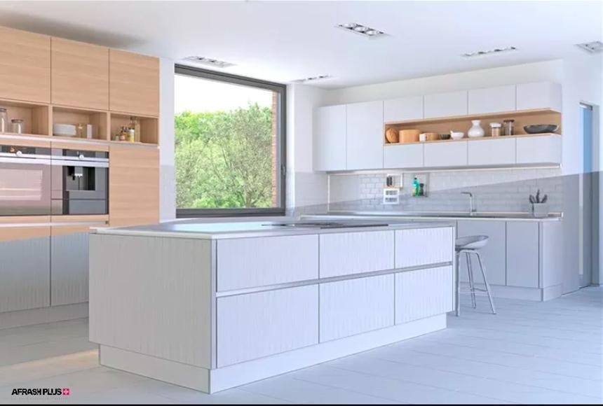 آشپزخانه سبک معاصر با کابینت سفید و پنجره بزرگ