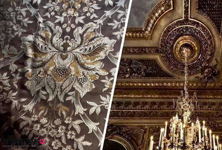 پارچه داماسک در سبک کلاسیک با زمینه سقف گچبری و پتینه