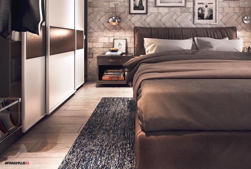 اتاق خواب سبک صنعتی با کف پارکت و کمد های ریلی مخفی و دیوار آجری