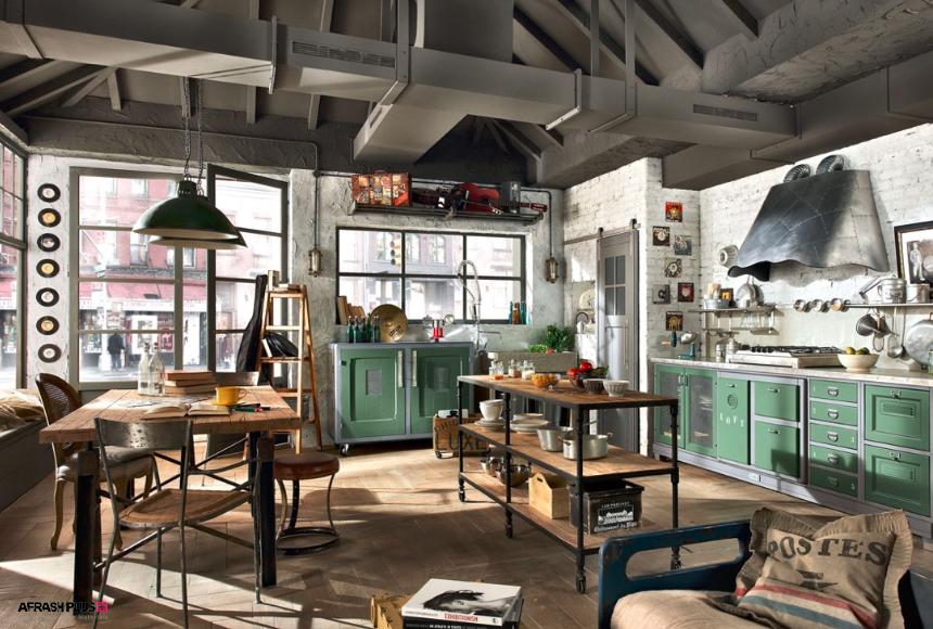 آشپزخانه سبک صنعتی با کابینت لاجوردی و میزهای روستیک