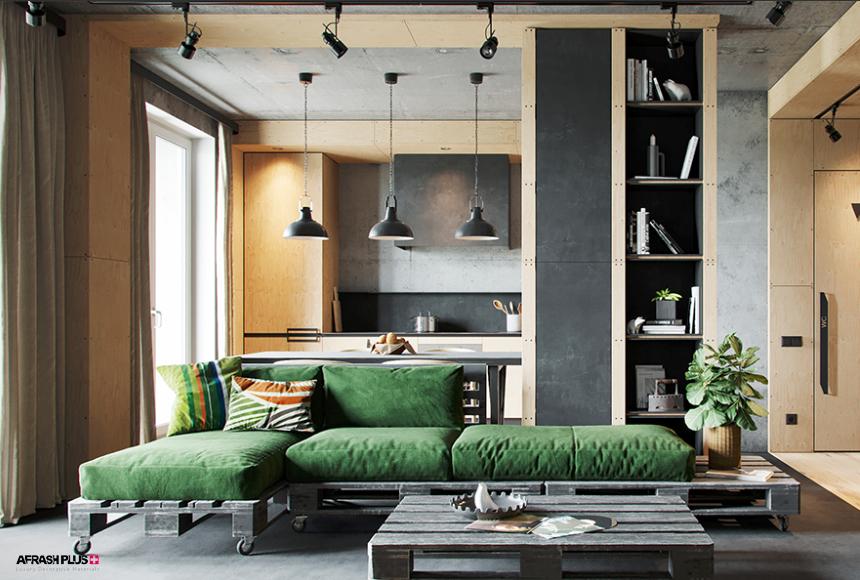 نشیمن سبک صنعتی با دیوارهای تلفیقی بتن و ام دی اف طرح چوب و مبلمان سبز با پایه پالت چوبی