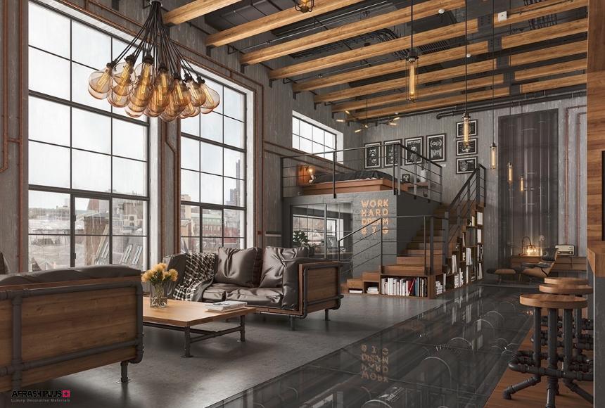 طرح سه بعدی نشیمن سبک صنعتی با کف شیشه و پنجره های بزرگ