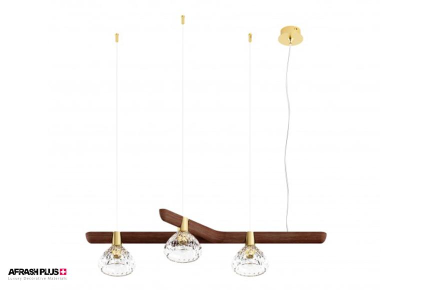 لامپ آمیز با بدنه چوبی و شیشه کریستالی در زمینه سفید