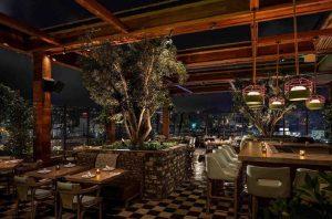 دکوراسیون رستوران زیبا با درختی در وسط آن و میزهای چوبی