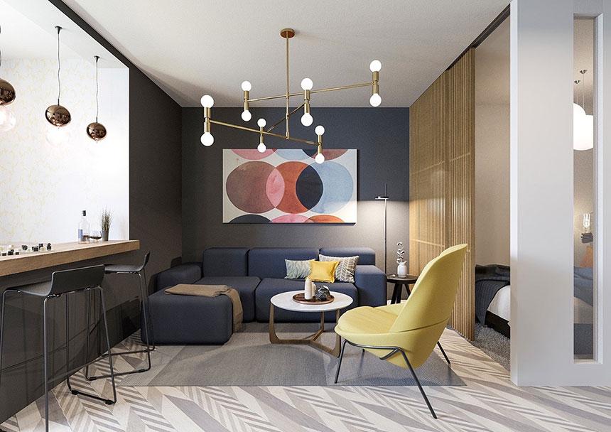 دیزاین چشم گیر دو سبک مبلمان با رنگ های شاد و متریال های متفاوت