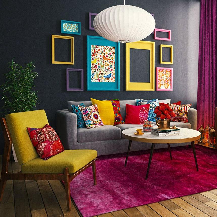 خلاقیت در نشیمن با استفاده از رنگ های متنوع و شاد