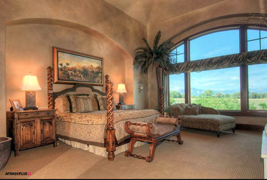 اتاق خواب سبک مدیترانه ای کاملا کلاسیک و قدیمی