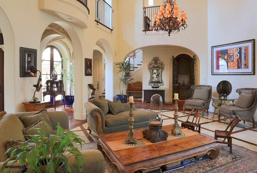 نشیمن سبک مدیترانه ای با مبلمان کلاسیک چوب طبیعی
