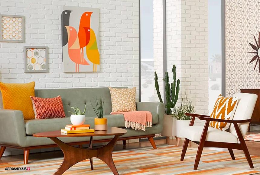 نشیمن سبک میانه قرن 20 با موکت رنگی و دیوار آجری سفید