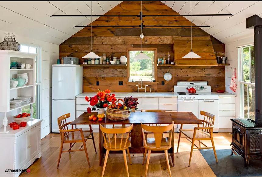 آشپزخانه روستیک با کابینت ترکیبی چوب و ام دی اف مات
