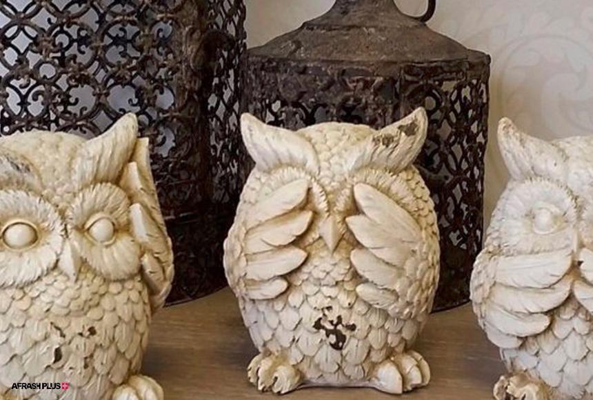 تزئینات چوبی 3 جغد مناسب دکوراسیون سبک نخ نمای شیک