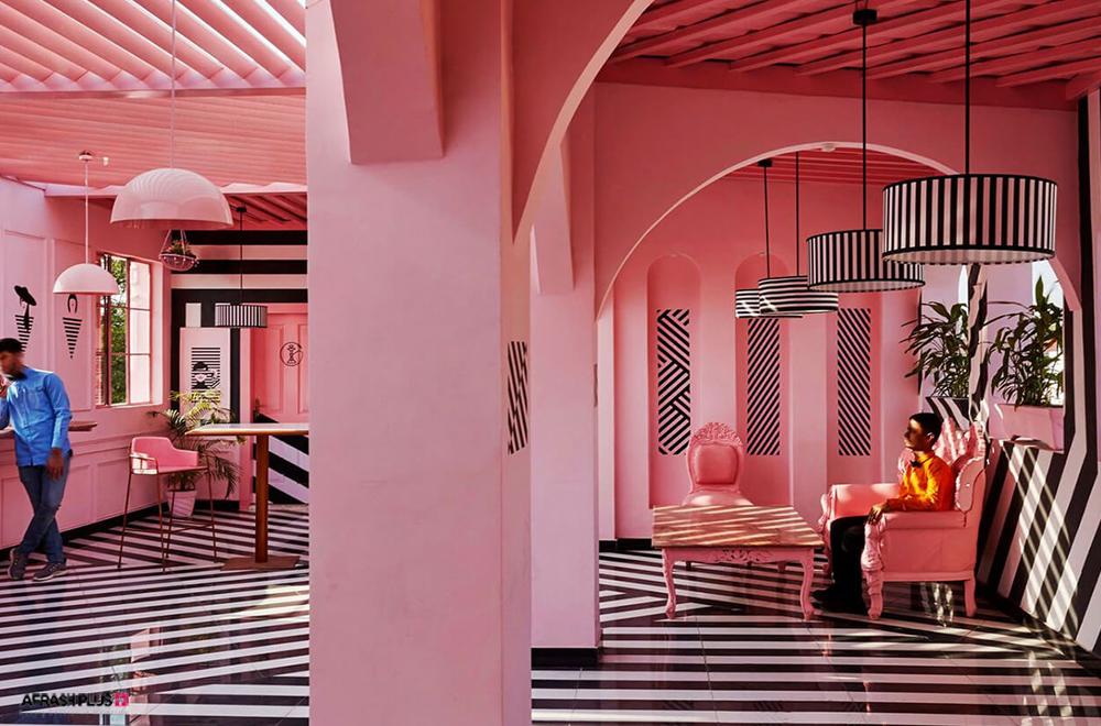 لابی هتل با تم زبرا و رنگ صورتی