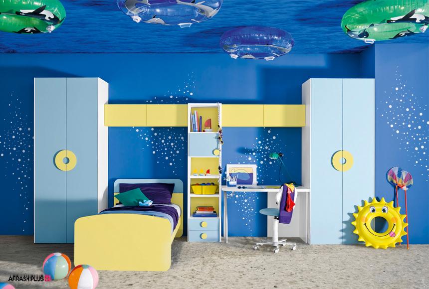 دکوراسیون اتاق کودک با تم رنگ ابی و المان های زرد