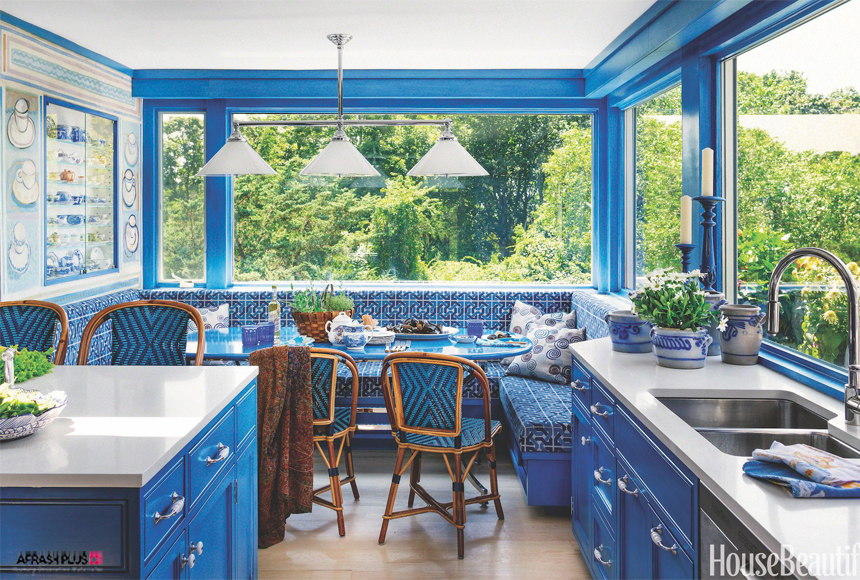 آشپرخانه کلاسیک با رنک آبی