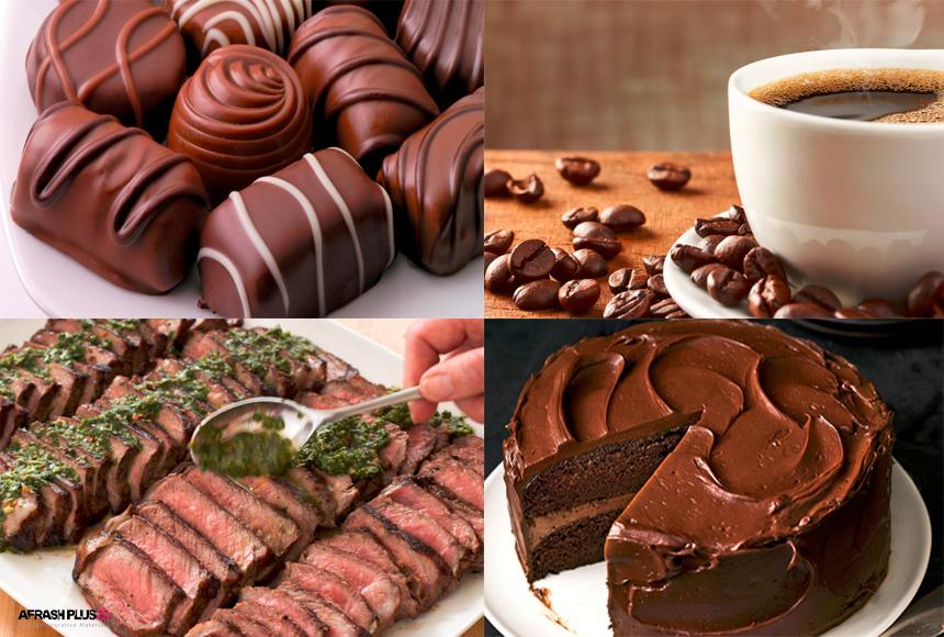 4 عکس شکلات، کیک شکلاتی، قهوه و استیک در یک قاب