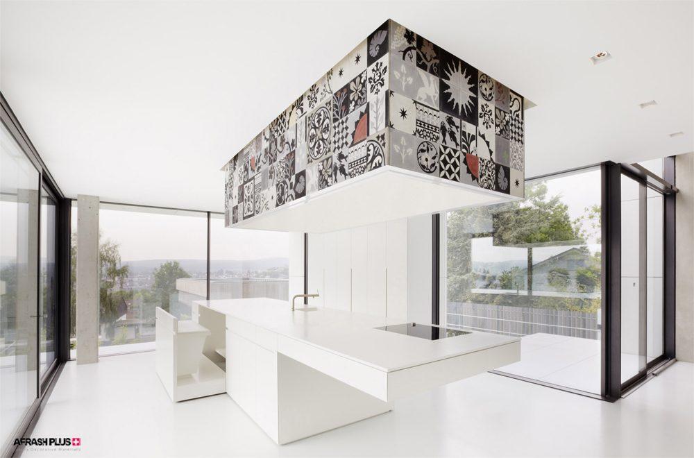 آشپزخانه مدرن با تم رنگ سفید