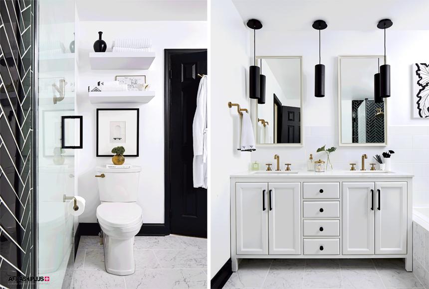 سرویس بهداشتی و حمام با تم رنگ سفید