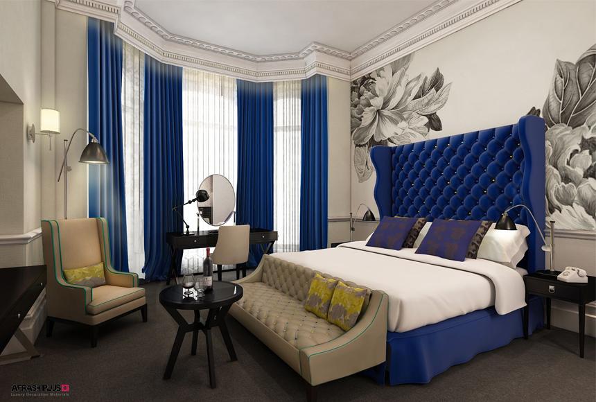 دکوراسیون اتاق خواب با تم رنگ سفید و المان های آبی