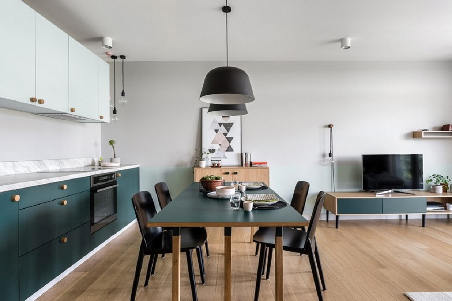 آشپزخانه مدرن و زیبا با رنگ های مات