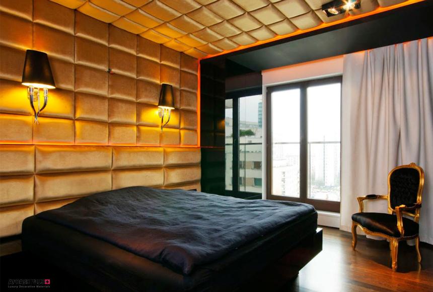 اتاق خواب با سقف طلایی و تختخواب رنگ مشکی