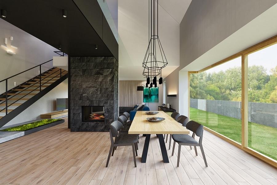 چوب و سنگ در دیزاین خانه