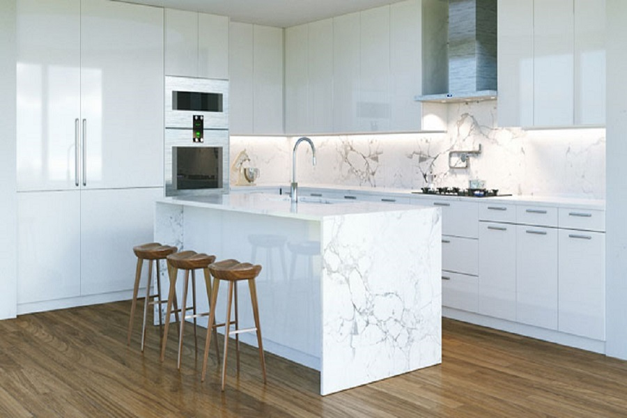 بین کابینتی رنگ marble مشترک با جزیره