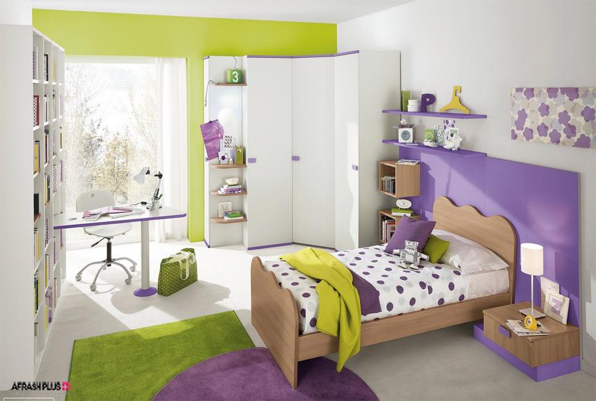 اتاق خواب کودک با تم رنگ بنفش و سبز