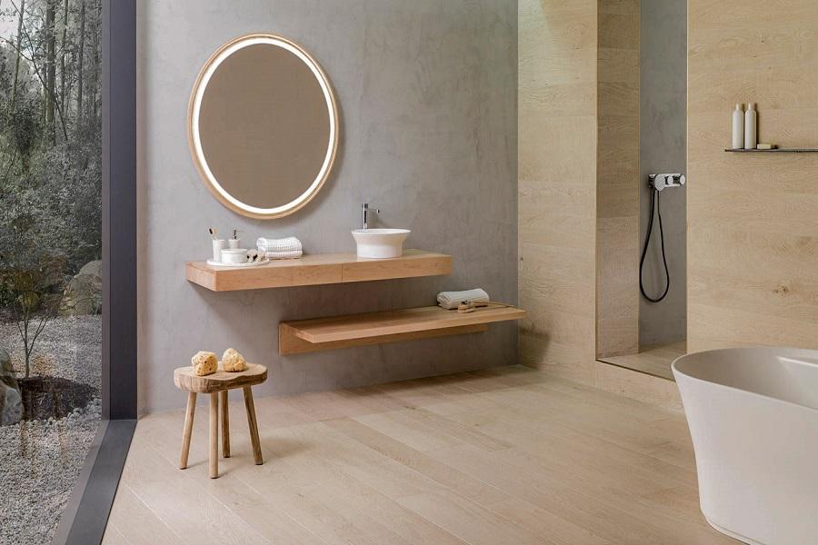 دیوار پوش چوبی با آینه زیبا