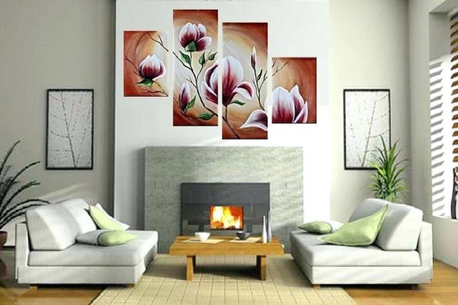 تابلوهای ترکیبی از گل بر روی دیوار