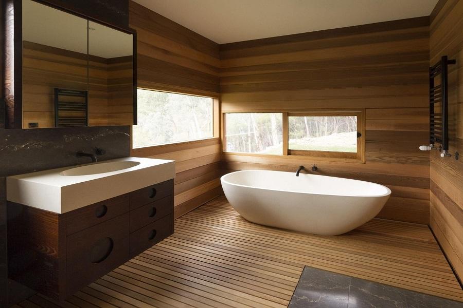 طراحی سرویس و حمام با چوب
