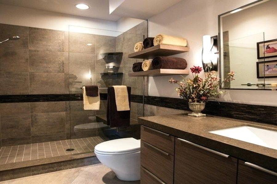 حمام و سرویس بهداشتی با قفسه های نگهدارنده